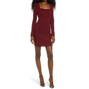 Row A Wine Ribbed Square Neck Long Sleeve Dress M